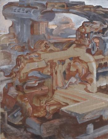 "Circular Ruins, 2007-10, oil on linen, 36"" x 28"""