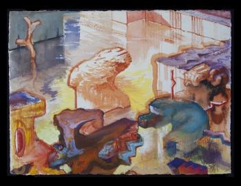 "Tank, 2012-14, gouache on paper, 22"" x 30"""