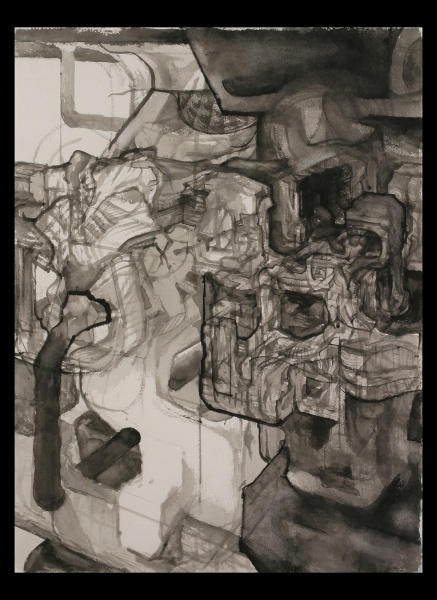 "Planet of the Archbuilders: D, 2003-5, watercolor on paper, 30"" x 22"""