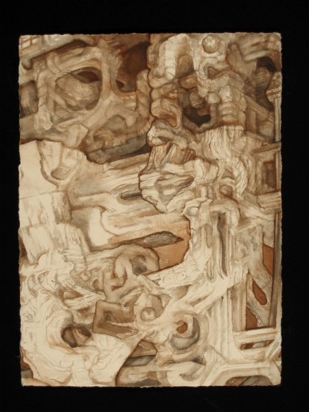 """Crypt 9, 2005-07, watercolor on paper, 30"""" x 22"""""""
