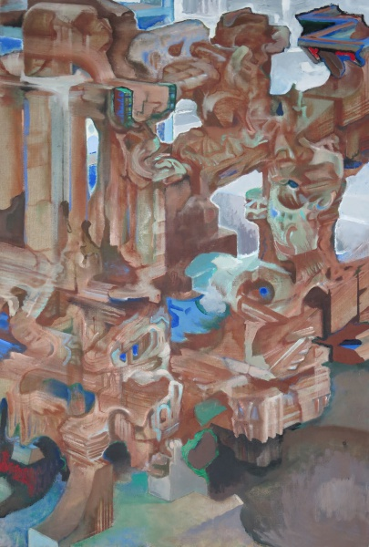 "Ruins In Reverse, 2008-10, oil on linen, 42"" x 28"""