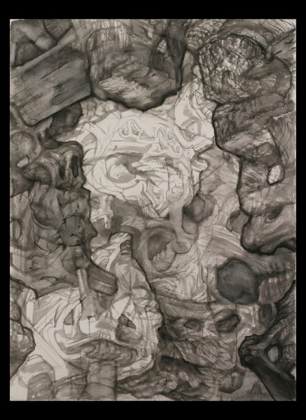 """Planet of the Archbuilders: O, 2003-5, watercolor on paper, 30"""" x 22"""""""