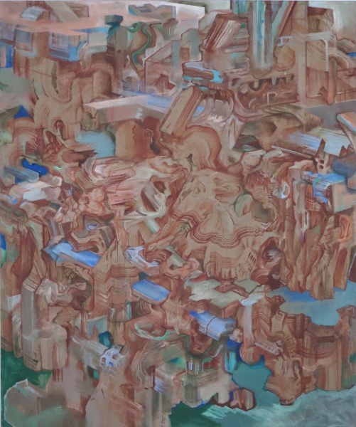 "Rubble of Its Own Debris, 2009-11, oil on linen, 60"" x 50"""