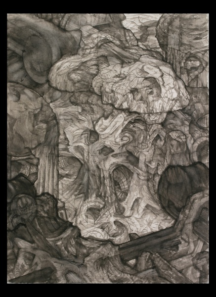 """Planet of the Archbuilders: P, 2003-5, watercolor on paper, 30"""" x 22"""""""
