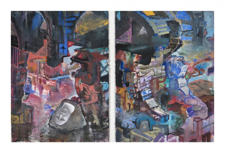 "Subterranean, 2012-14, gouache and collage on paper, diptych, each 30"" x 22"""