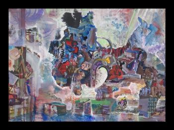 "Giant Barfing, 2012-14, gouache and collage on paper, 30"" x 42"""