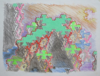 untitled, 2015, color pencil on isometric graph paper