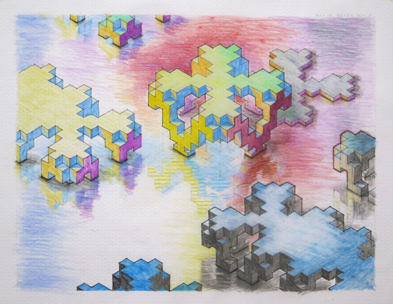 untitled, 2015, color pencil on isometric graph paper, private collection