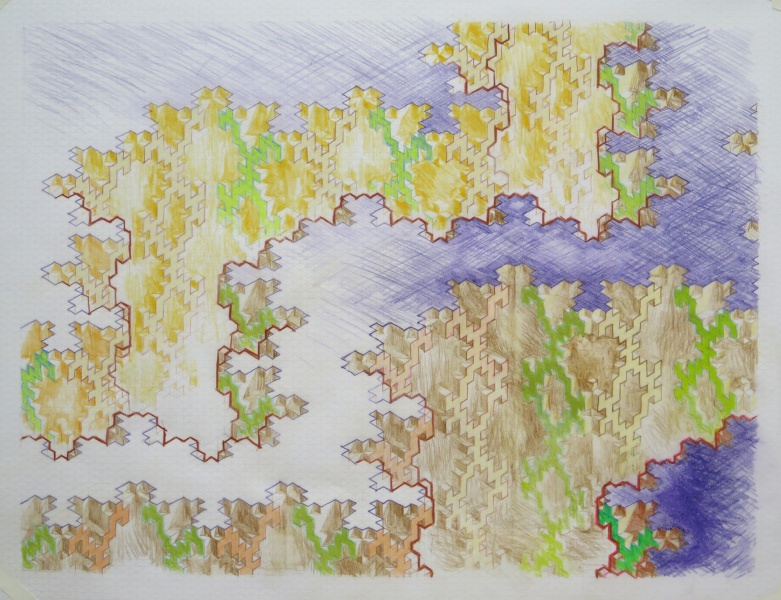 untitled, 2014, color pencil on isometric graph paper