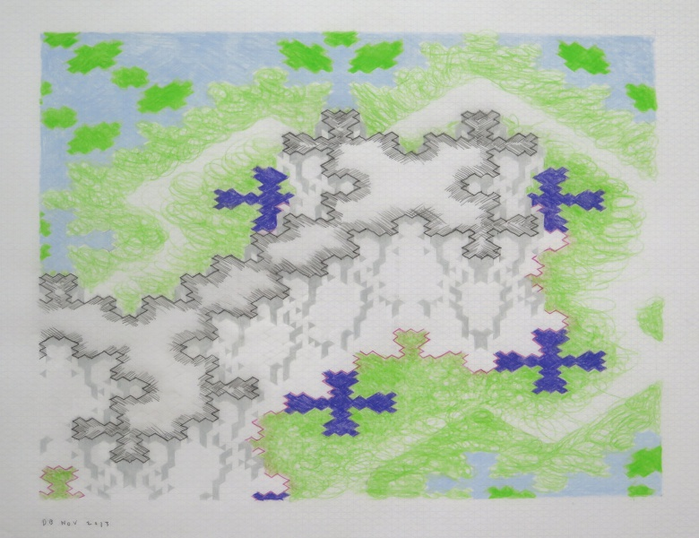 untitled, 2014, color pencil on isometric graph paper private collection