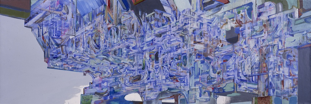 "<em>Region 34</em>, 1999, acrylic on canvas, 48"" x 144"", private collection"