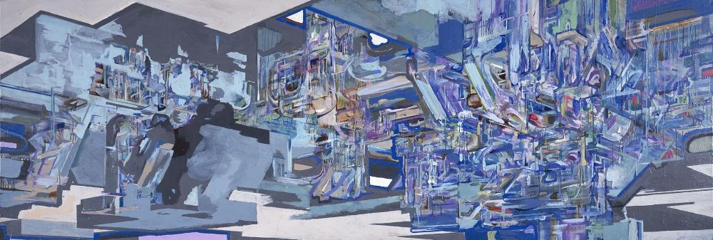 """<em>Region 38</em>, 2000, acrylic on canvas, 48"""" x 144"""""""