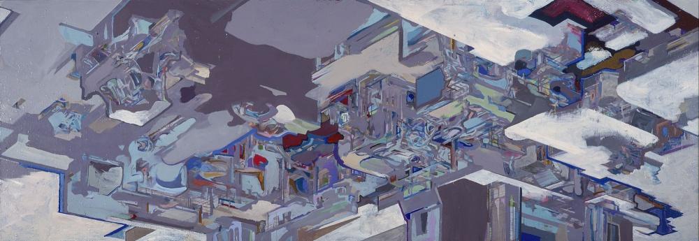 """<em>Region 39</em>, 2001, acrylic on canvas, 48"""" x 144"""""""