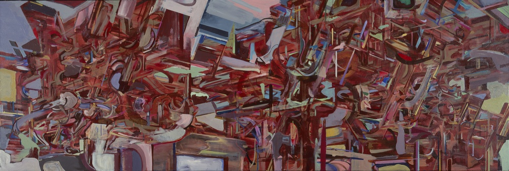 "Region 40, 2001, acrylic on canvas, 48"" x 144"""